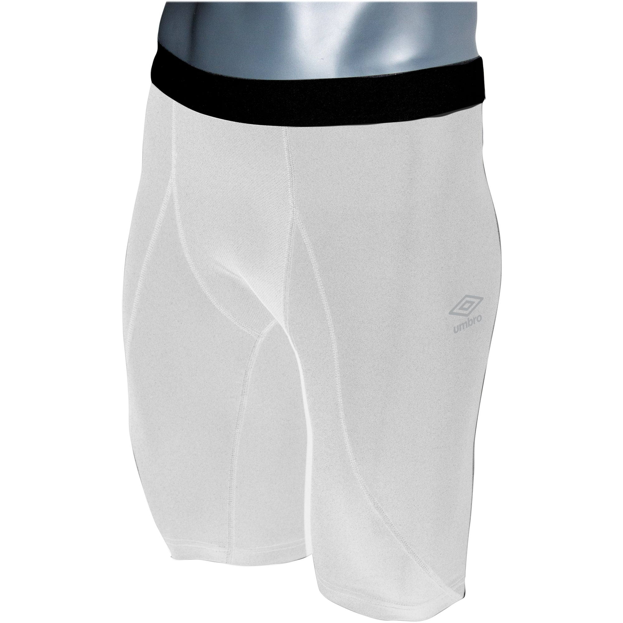 Umbro Elite Player Power Short in white with black waist band