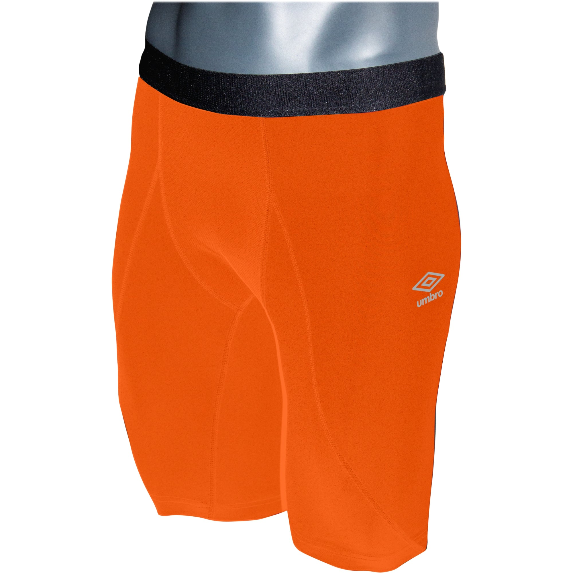 Umbro Elite Player Power Short in shocking orange with black waist band