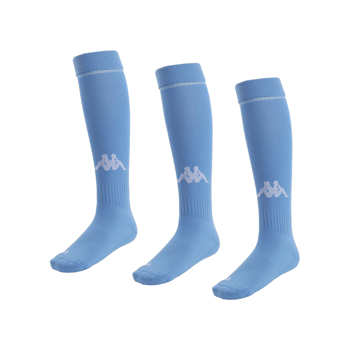 Kappa Penao high match sock in light blue with white knitted Omini on the shin