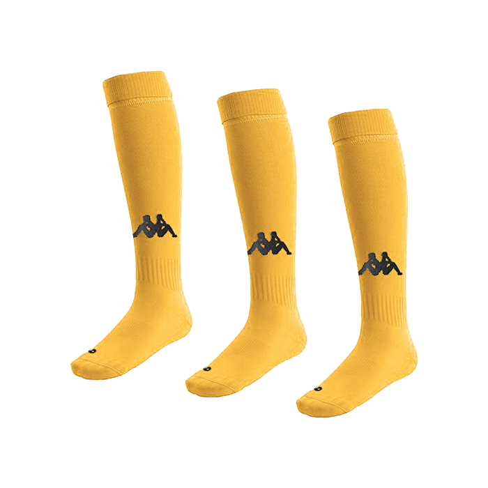 Kappa Penao high match sock in yellow with black knitted Omini on the shin