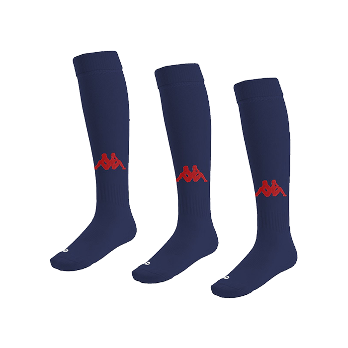 Kappa Penao high match sock in blue marine with red knitted Omini on the shin