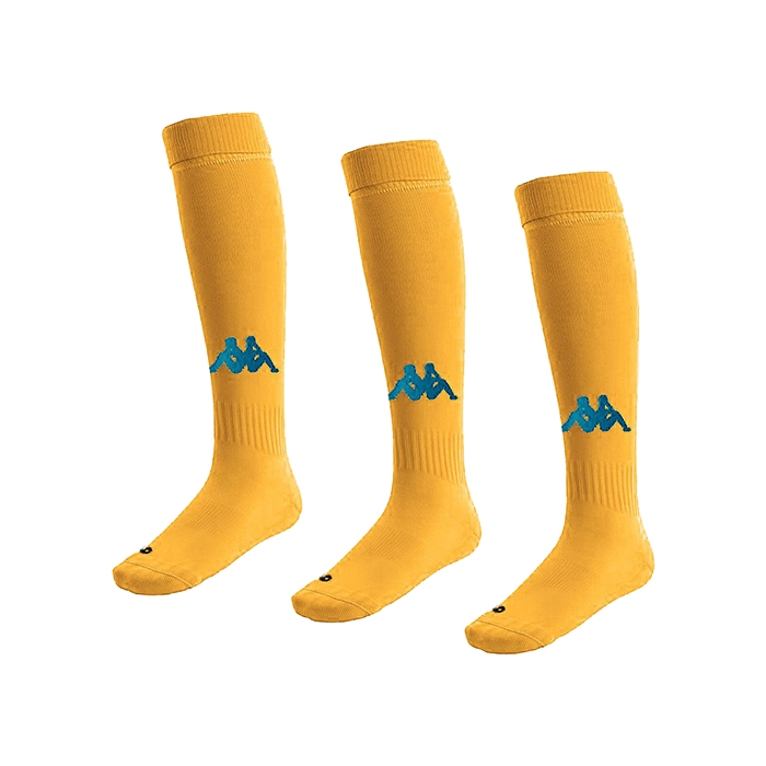 Kappa Penao high match sock in yellow with blue nautic knitted Omini on the shin
