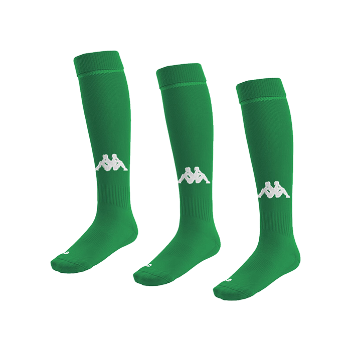 Kappa Penao high match sock in green/white with white knitted Omini on the shin