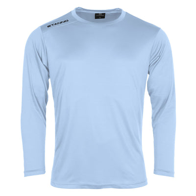 Front of Stanno Field long sleeve shirt in sky blue with black text logo on right shoulder