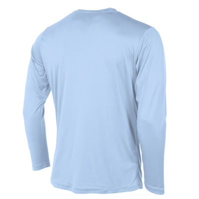 Rear of Stanno Field long sleeve shirt in sky blue