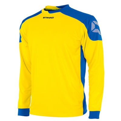 yellow Stanno campione long sleeved shirt with royal blue contrast shoulders and side panels, Stanno logo at top of sleeve.