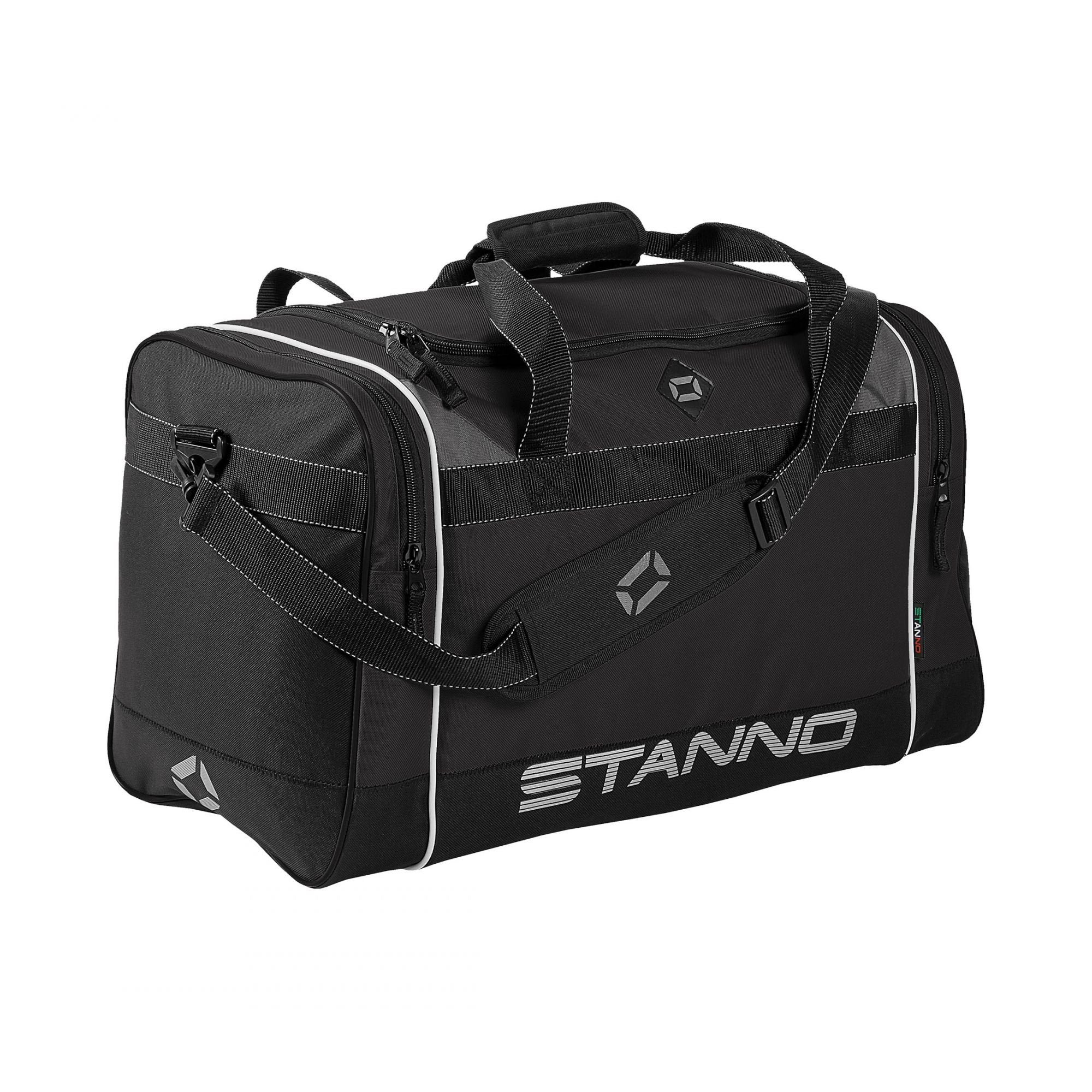 Stanno Sevilla Excellence sports bag in black with shoulder strap. Large text logo at the bottom of the side panel.
