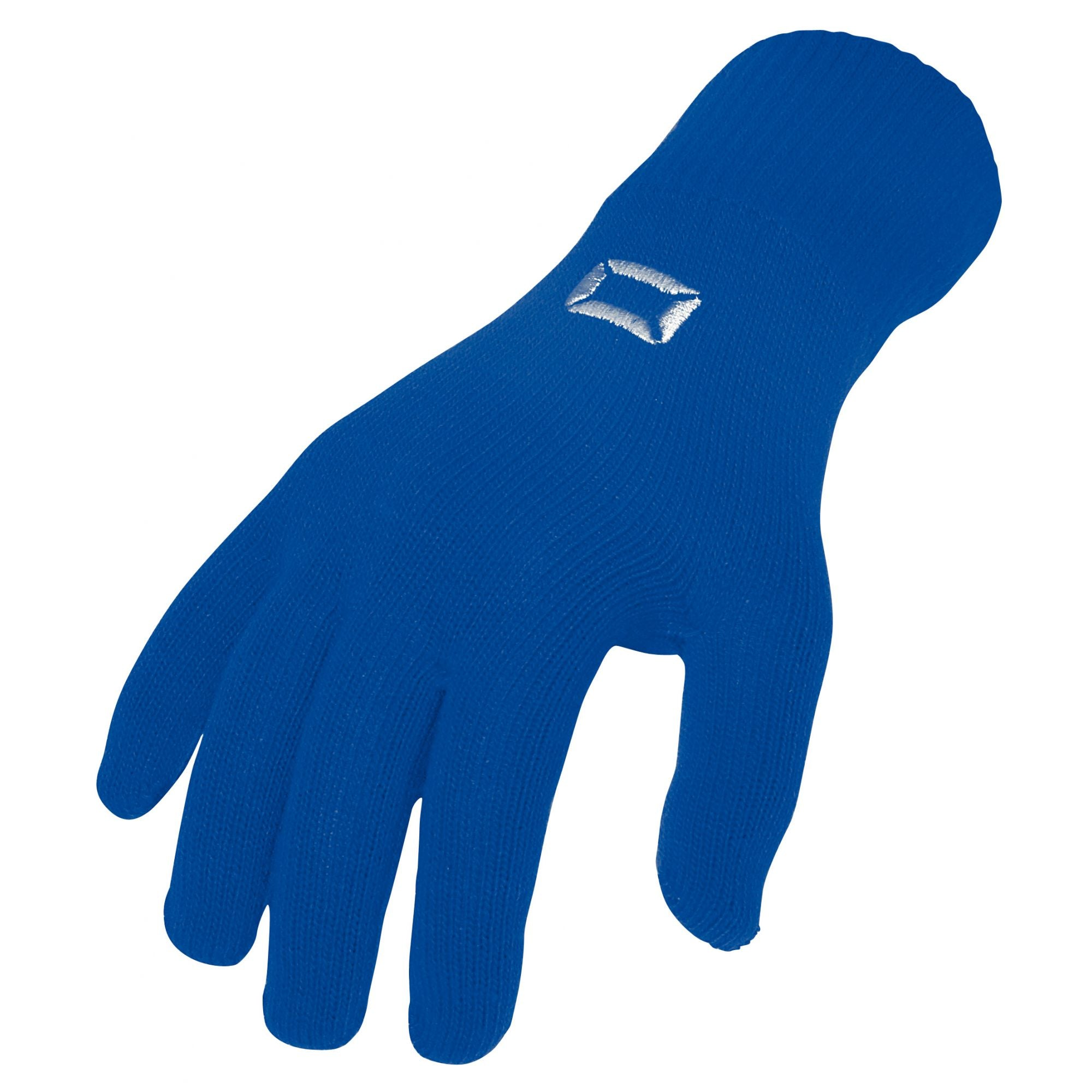 Stanno Stadium player glove in blue with embroidered silver logo on back of hand