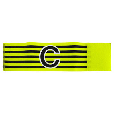 yellow and black horizontal striped captains armband with large black C with white contour outline