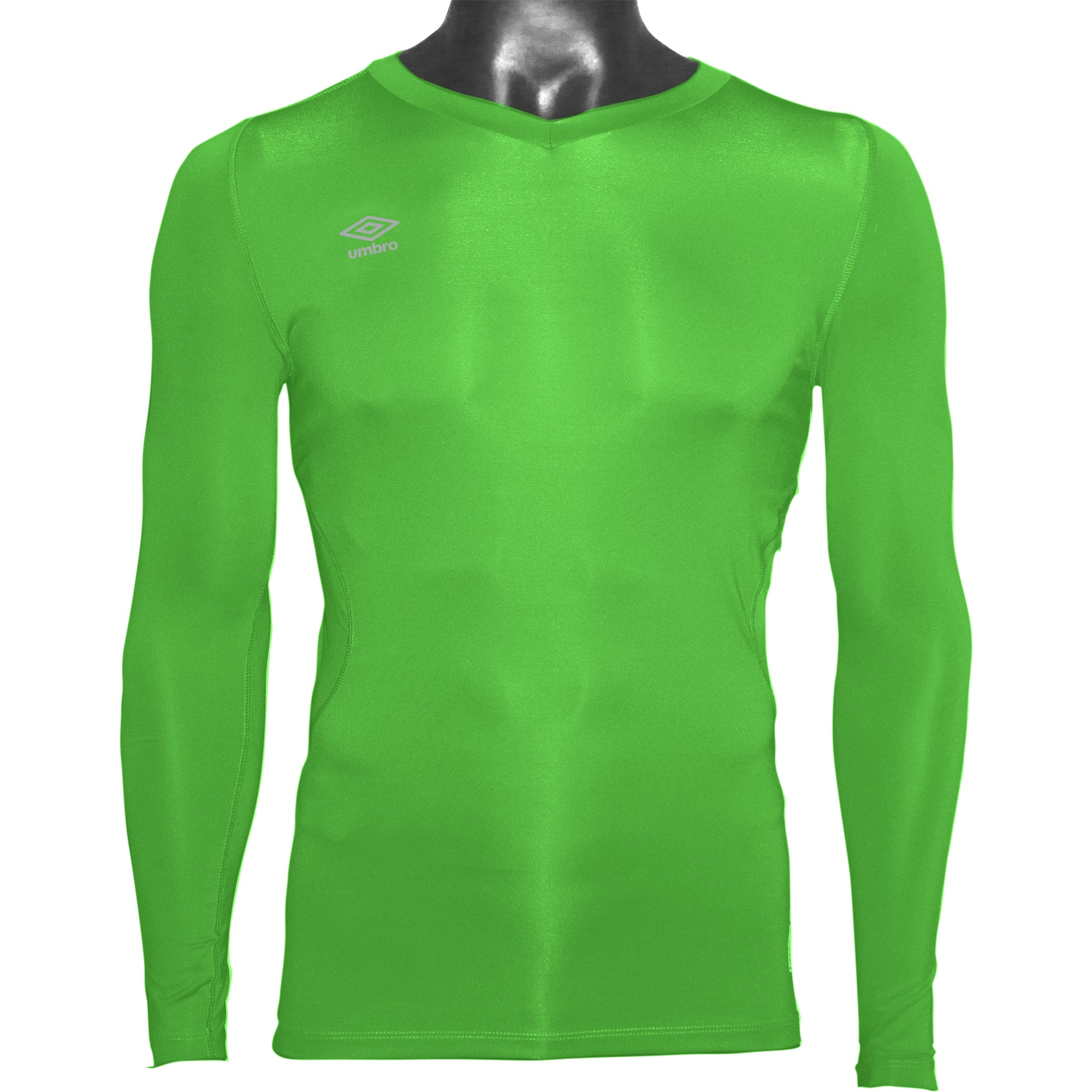 Umbro Elite V Neck baselayer in green gecko with reflective stacked diamond logo on right chest