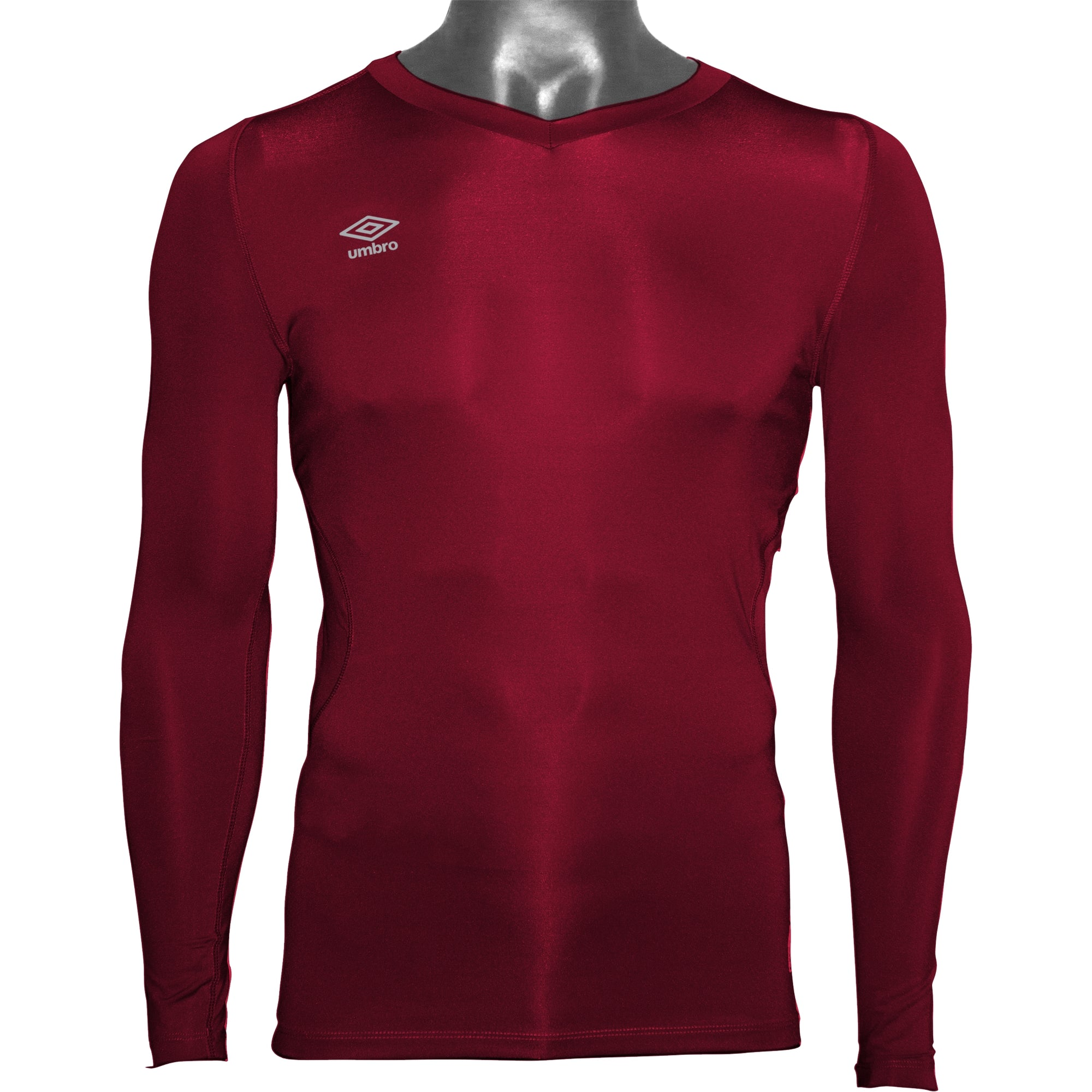 Umbro Elite V Neck baselayer in new claret with reflective stacked diamond logo on right chest