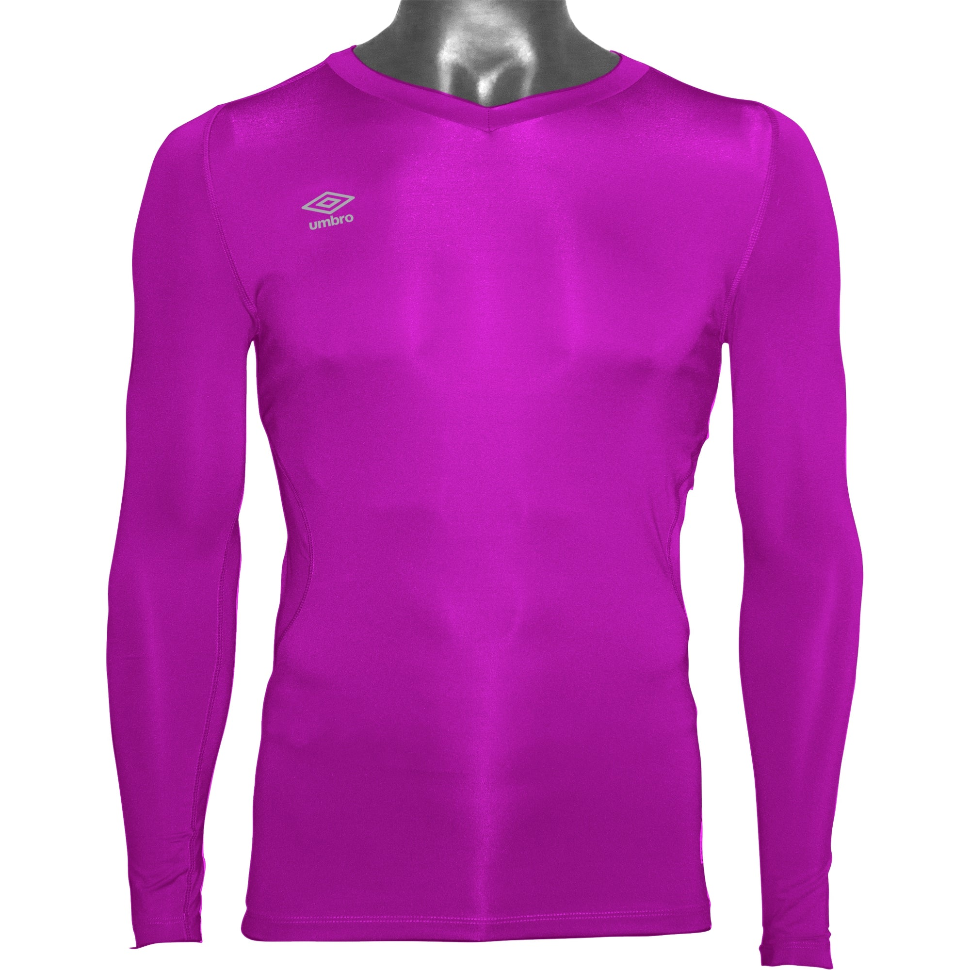 Umbro Elite V Neck baselayer in purple cactus with reflective stacked diamond logo on right chest