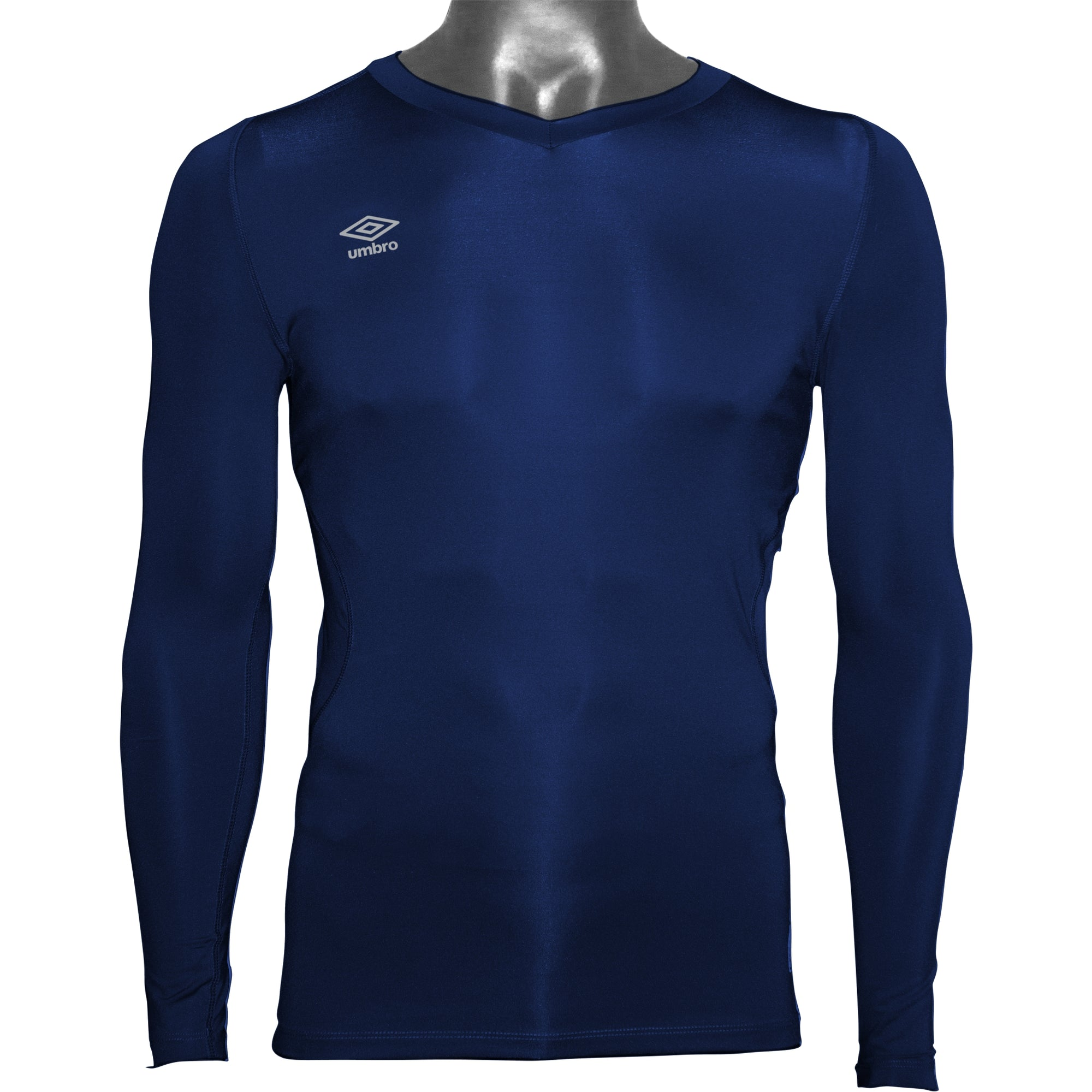 Umbro Elite V Neck baselayer in TW navy with reflective stacked diamond logo on right chest