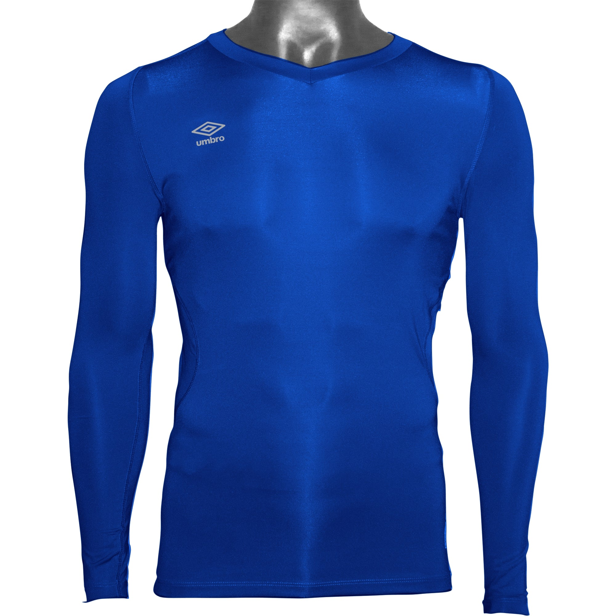 Umbro Elite V Neck baselayer in TW Royal with reflective stacked diamond logo on right chest