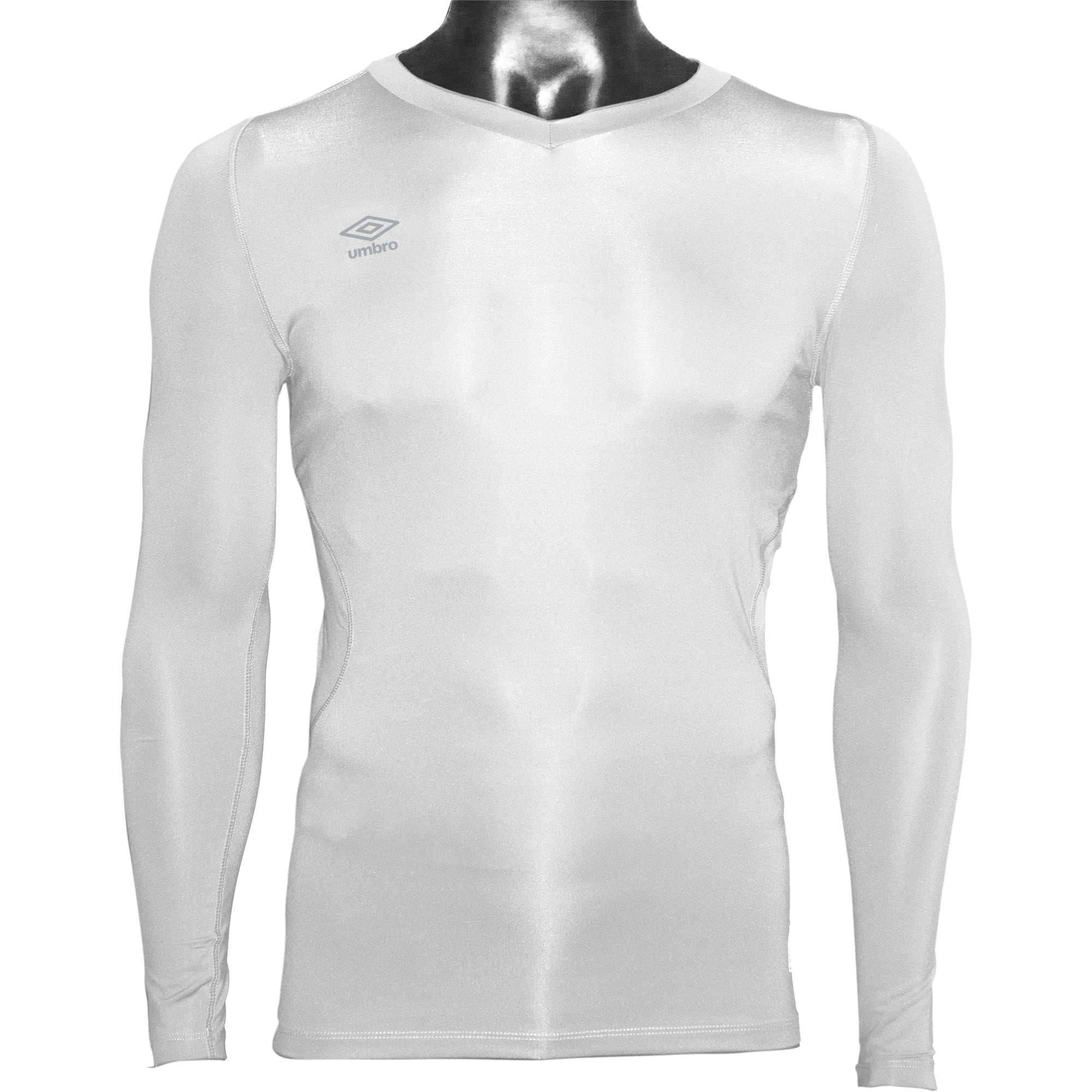 Umbro Elite V Neck baselayer in white with reflective stacked diamond logo on right chest