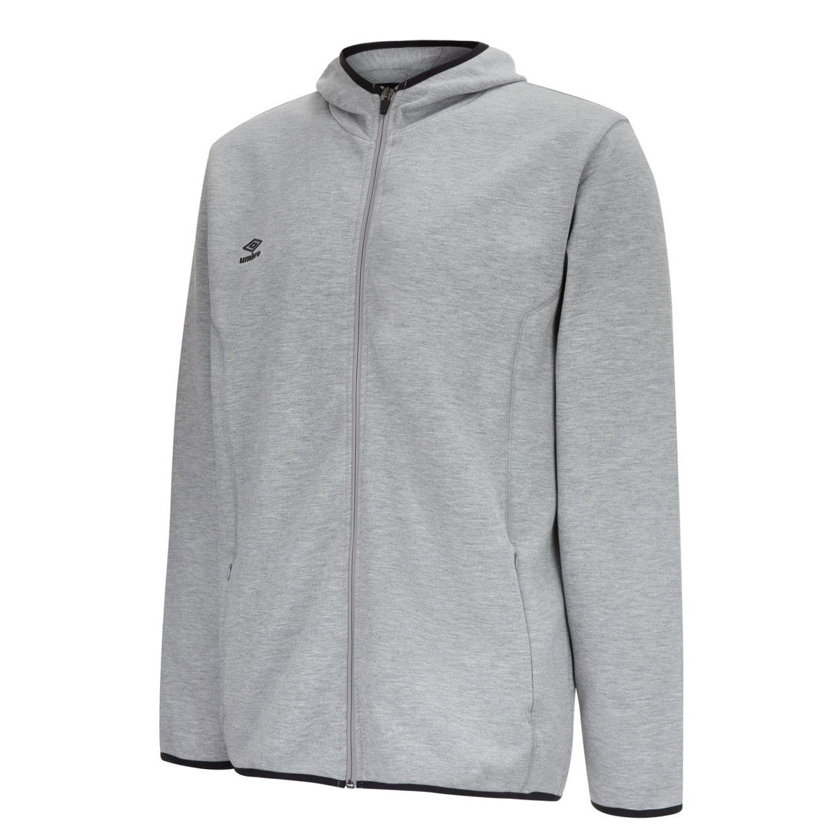 Umbro Pro Fleece Hoody in grey marl with full front zip, black contrast piping on hood, pocket and hem