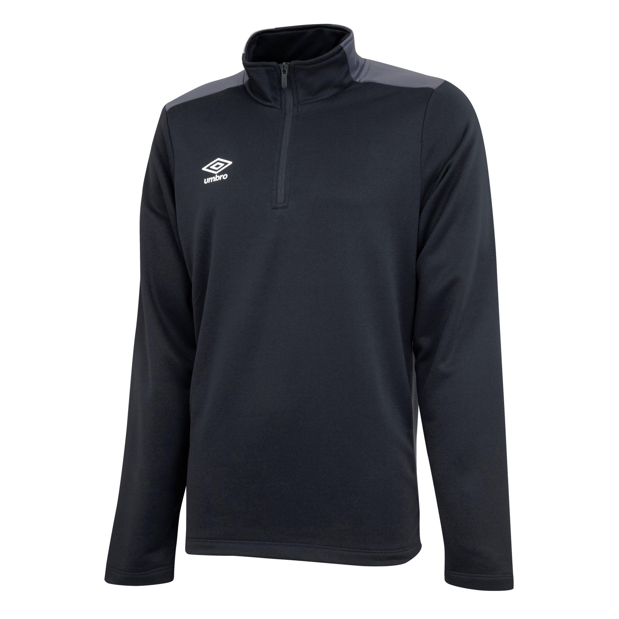 Umbro half zip top in black/carbon.