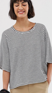 Oversized Black And White Stripe Top