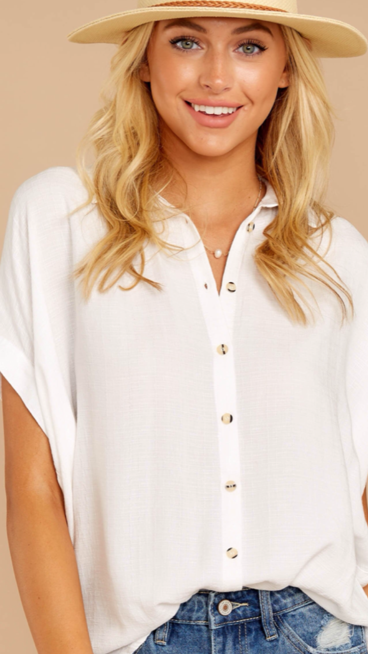 Everyday Ivory Button Up Top