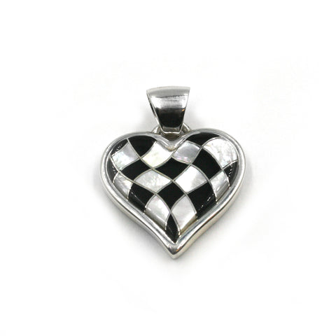 Black & White Wavy Heart Pendant