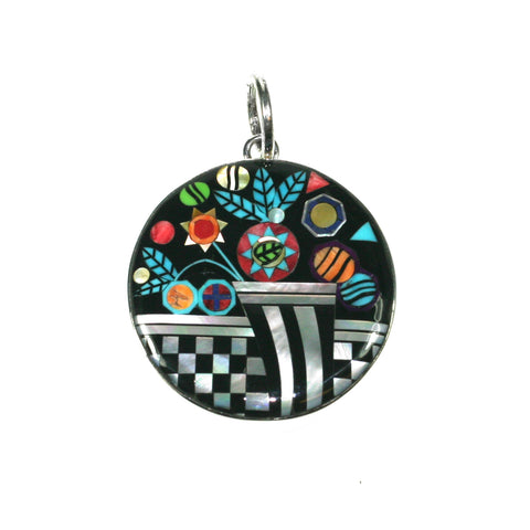 Flower inlay pendant by Kelly Charveaux