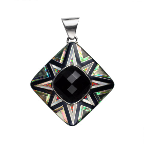 Black onyx aztec inlay pendant by Kelly Charveaux
