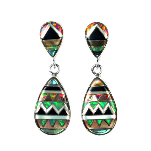 Inlay aztec pattern earrings by Kelly Charveaux