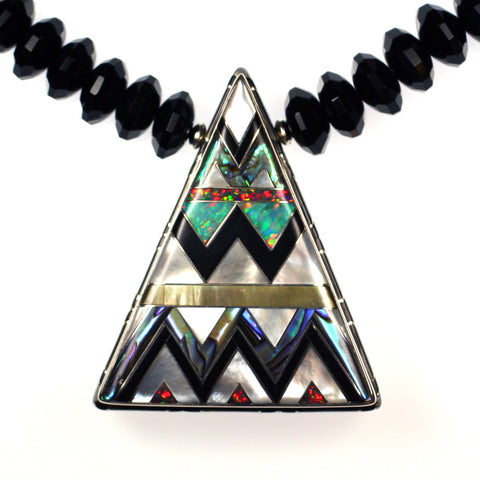 Aztec inlay temple necklace by Kelly Charveaux