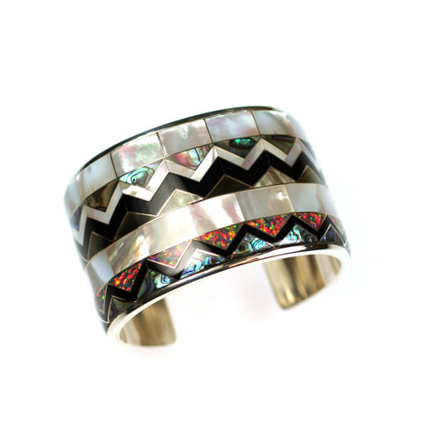 Aztec collection inlay cuff bracelet by Kelly Charveaux