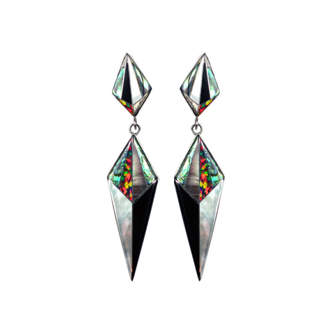 Aztec design inlay earrings