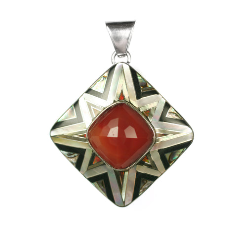Carnelian pendant with Aztec inlay by Kelly Charveaux