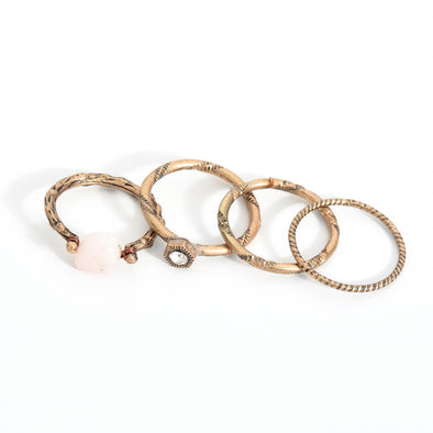 Boho Beach Pink Ring Set (4pcs)