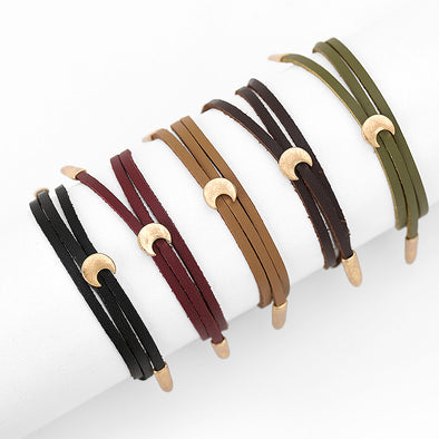 Double Layer Leather Bracelet with Moon