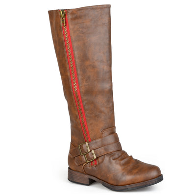Brinley Co. Womens Regular and Wide-Calf Knee-High Side-Zipper Buckle Riding Boot