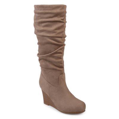 Brinley Co. Womens Wide Calf Slouchy Faux Suede Mid-calf Wedge Boots