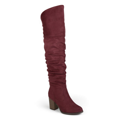 Brinley Co. Womens Wide Calf Ruched Stacked Heel Faux Suede Over-the-knee Boots