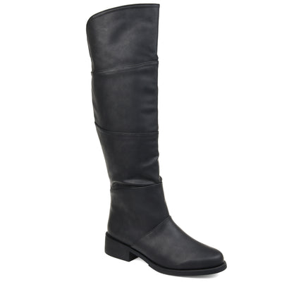 Comfort by Brinley Co. Womens Wide Calf Faux Leather Knee-high Boot