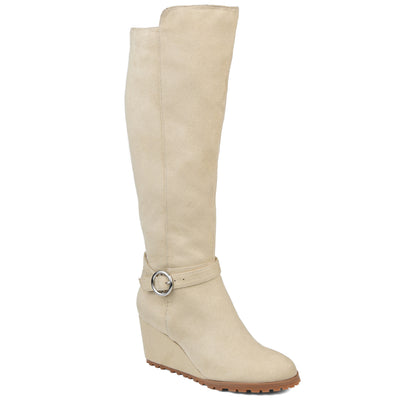 Comfort by Brinley Co. Womens Extra Wide Calf Microsuede Wedge Boot
