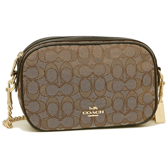 Coach F28959 IMC7C Isla Chain Khaki Brown Signature Crossbody Brand