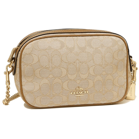 Coach F28959 IMNL Isla Chain Light Khaki Saddle Signature Crossbody Brand