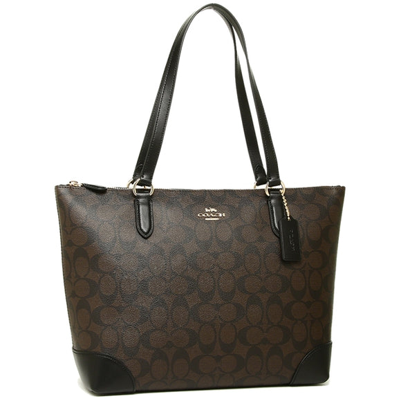 Coach F29208 IMAA8 Signature Zip Top Tote Leather Handbag Brown Black