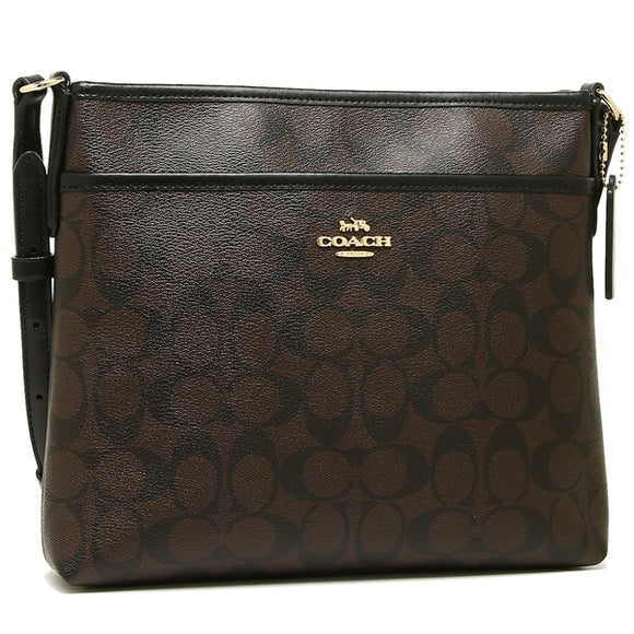 Coach F29210 IMAA8 Signature Brown Black Zip File Crossbody