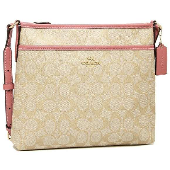 Coach F29210 IMBE5 Signature Light Khaki Peony Zip File Crossbody Handbag