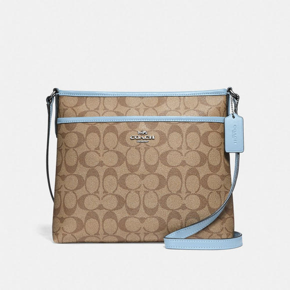 Copy of Coach F29210 SVNOQ Signature Khaki Pale Blue Zip File Crossbody Handbag