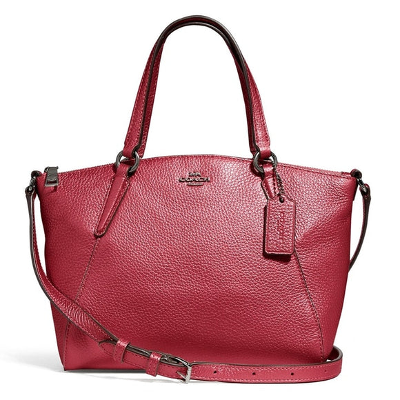 Coach F29639 QBNH3 Mini Kelsey Metallic Hot Pink Pebble Leather Satchel