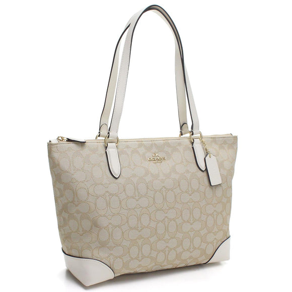 Coach F29958 IMDQC Khaki Chalk Zip Top Tote Outline Signature Leather Jacquard