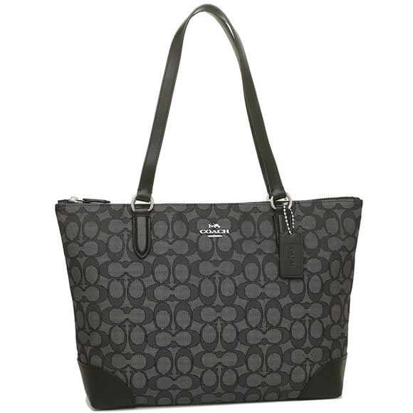 Coach F29958 SVDK6 Outline Signature Zip Top Tote Leather Handbag Black