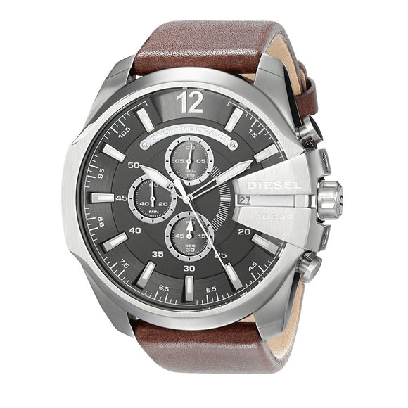 Diesel DZ4290 Mega Chief Silver Brown Leather Band Gray Dial Chrono