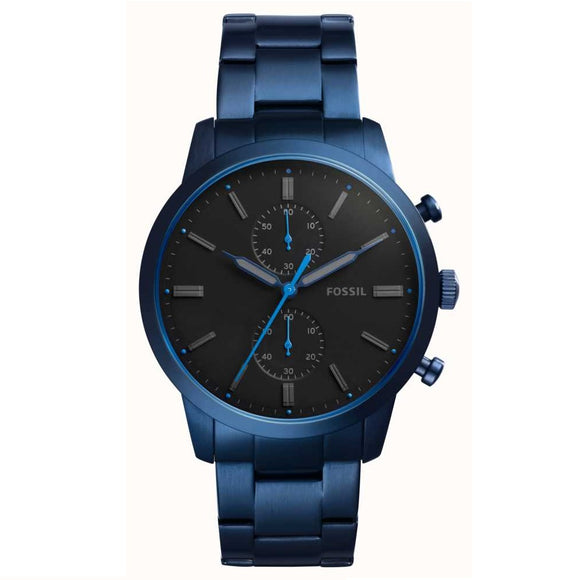 Fossil FS5345 Townsman Navy Blue Stainless Steel Chronograph Black Dial
