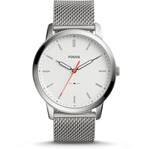 Fossil FS5359 Minimalist Silver Stainless Steel Mesh Band Cream Dial